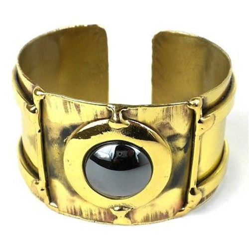 Between the Lines Hematite Brass Cuff Handmade and Fair Trade