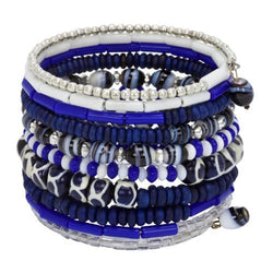 Ten Turn Bead and Bone Bracelet - Bright Blues - CFM