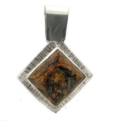 Leopard Stone Square Alpaca Silver Pendant Handmade and Fair Trade