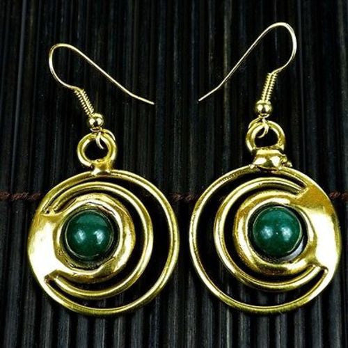 Deep Green Stone Concentric Earrings Handmade and Fair Trade