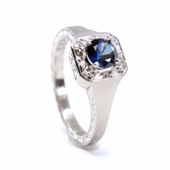 Montana Sapphire and Engraved Halo Ring