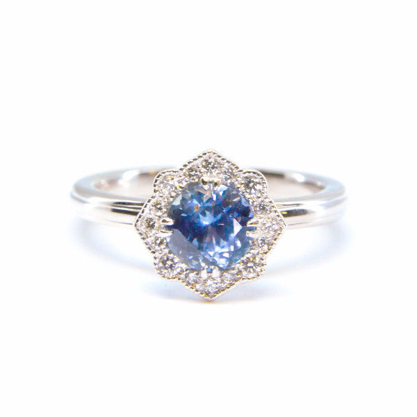 Montana Sapphire and Diamond Halo Stackable Ring