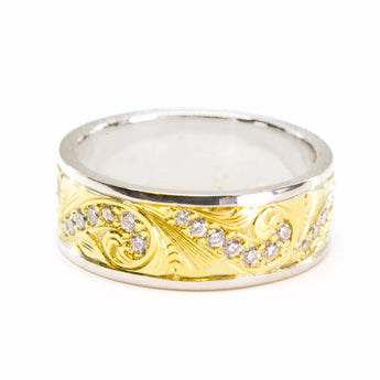 Two-Tone Gold, Engraved Diamond Band