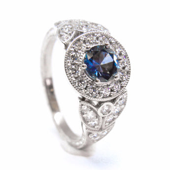 Montana Sapphire and Diamond Halo Ring