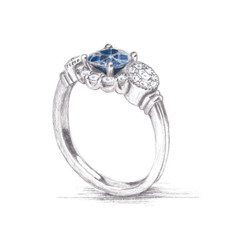 Three Stone Montana Sapphire and Diamond Ring