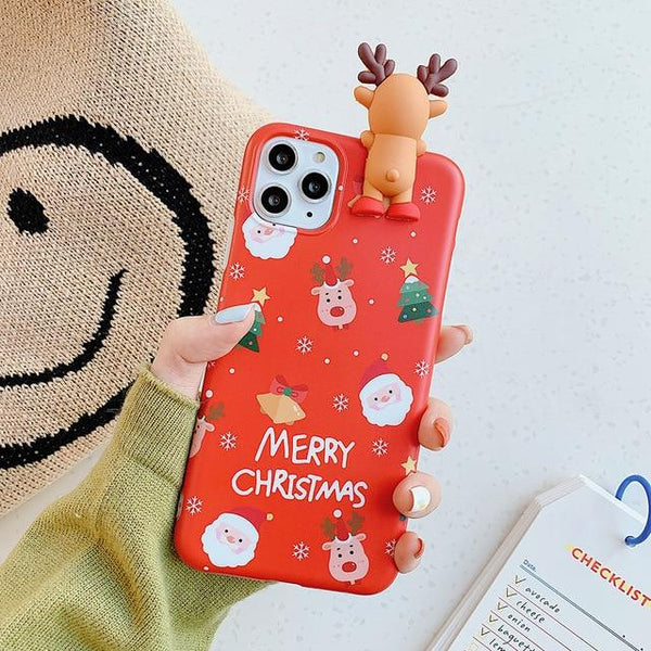 3D Christmas Reindeer Case - Jelly Cases