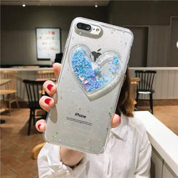 3D Heart Glitter Clear Case - Jelly Cases