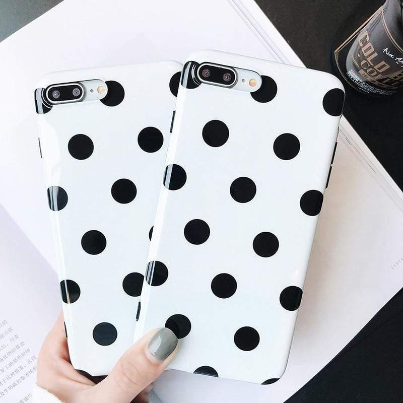 Black and White Polka Dot Shell Case - Jelly Cases