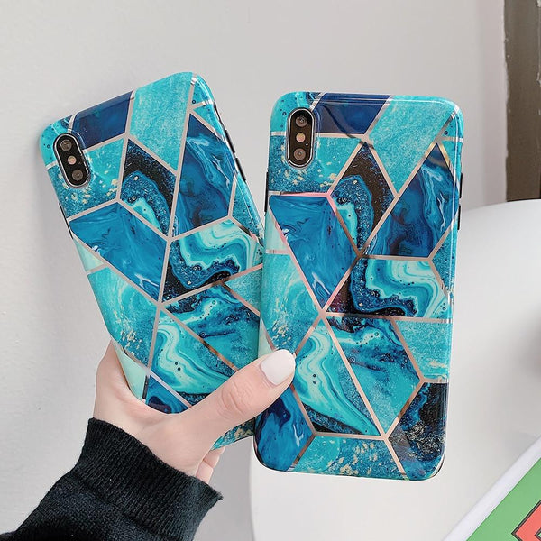 Blue Geometric Marble Case - Jelly Cases