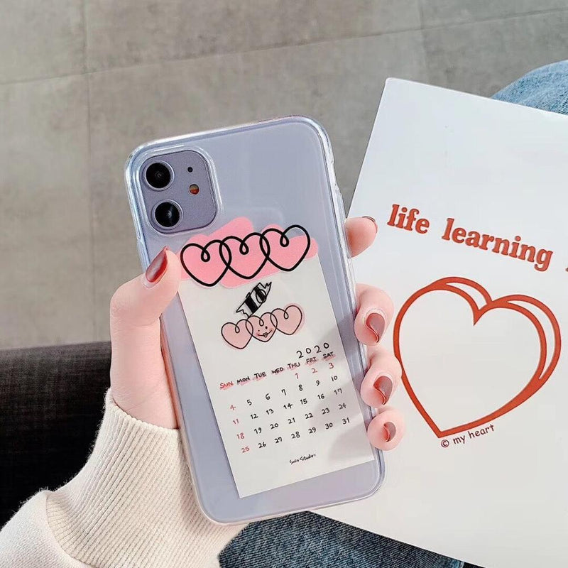 Calendar Cards Heart Case - Jelly Cases