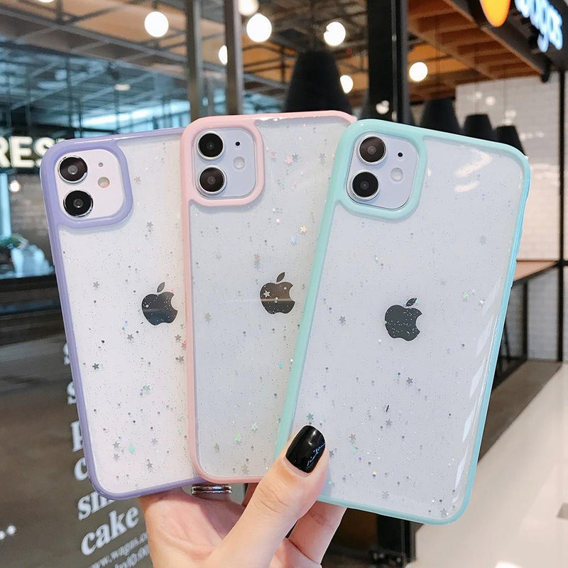 Candy Color Glitter Star Case - Jelly Cases
