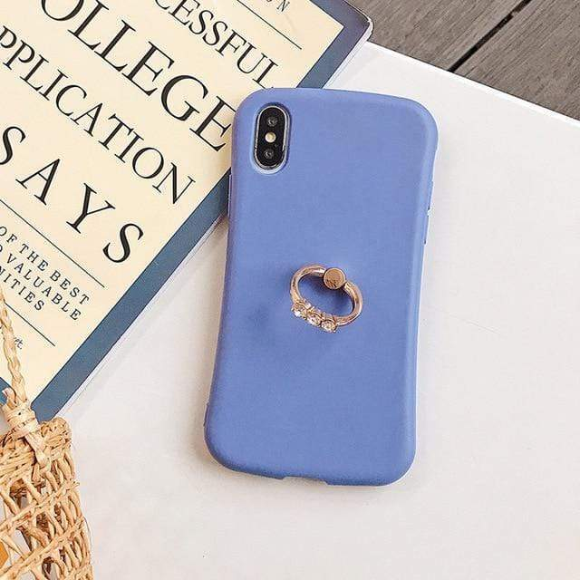 Candy Color Matte Case With Finger Ring - Jelly Cases