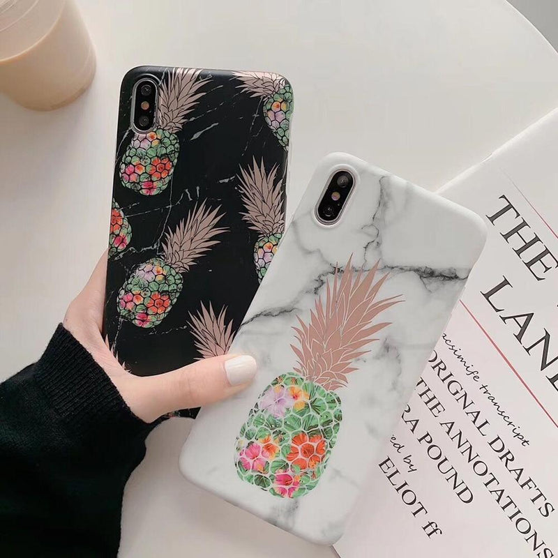 Cartoon Pineapple Marble Case - Jelly Cases