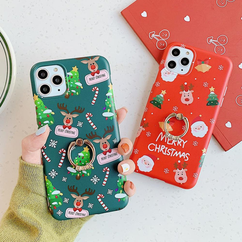 Christmas Reindeer Case + Ring Holder - Jelly Cases