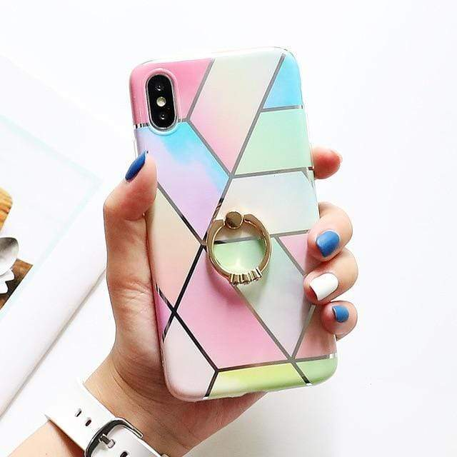 Colorful Marble Case + Ring Holder - Jelly Cases