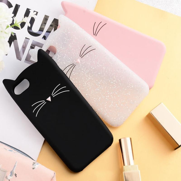 Cute Cartoon Cat Whiskers Case - Jelly Cases