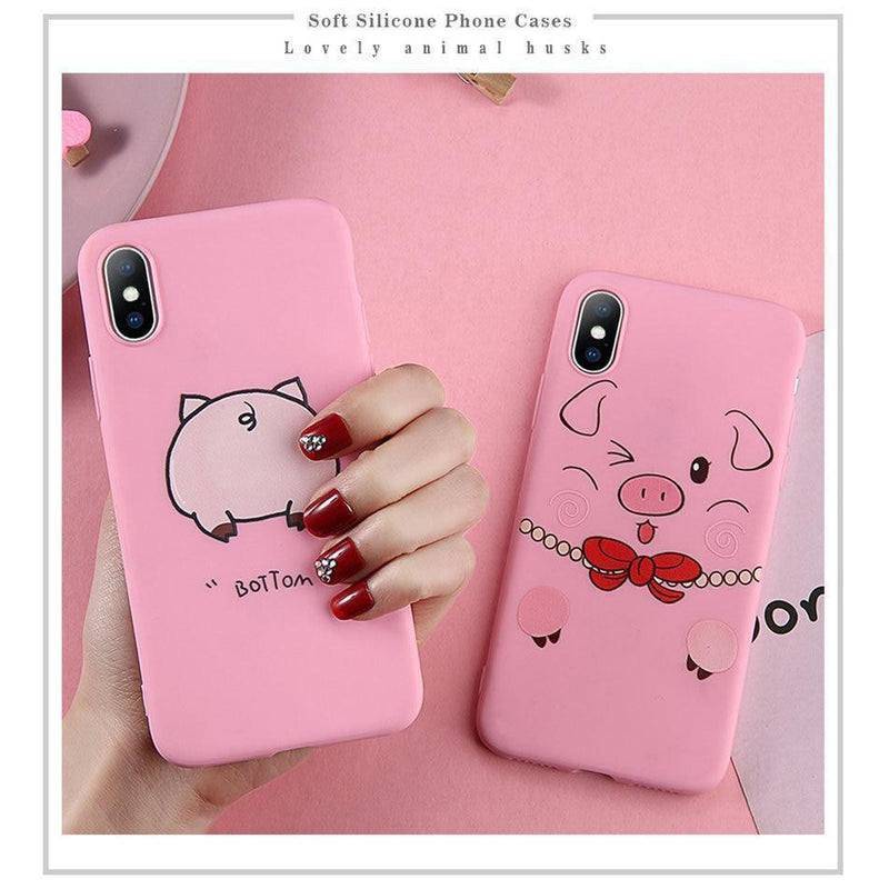 Cute Cartoon Pig Case - Jelly Cases