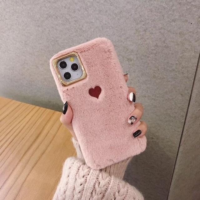 Cute Fluffy Heart Case - Jelly Cases