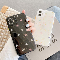 Cute Glitter Hearts Case - Jelly Cases