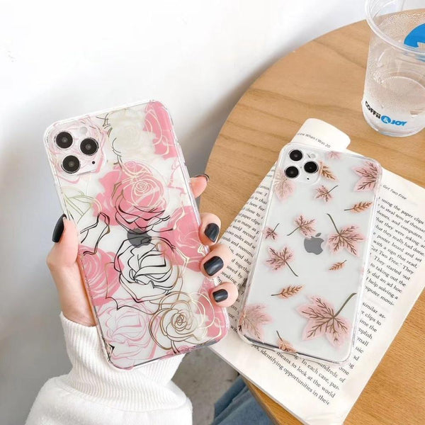 Electroplated Floral Case - Jelly Cases