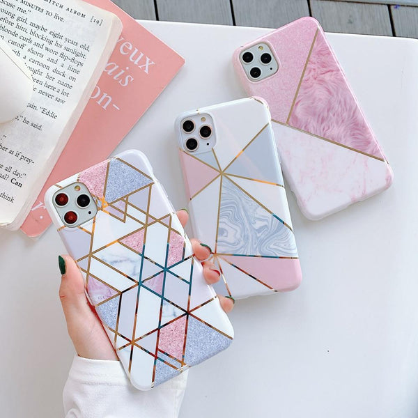 Geometric Splicing Marble Case - Jelly Cases