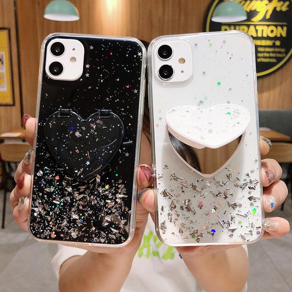 Heart Mirror Sequins Case - Jelly Cases