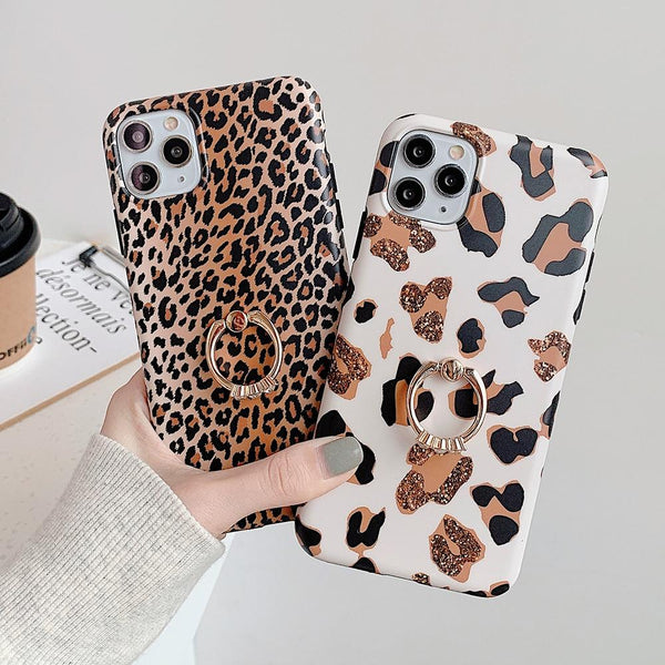Leopard Print Case + Ring Holder - Jelly Cases