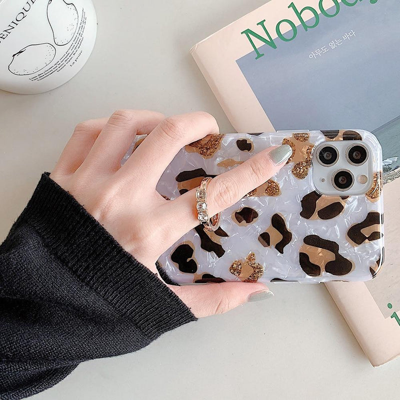 Leopard Print Dream Shell Case + Ring Holder - Jelly Cases