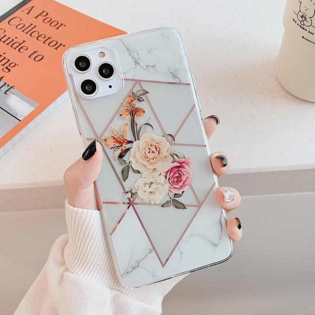 Marble Electroplated Flowers Case - Jelly Cases