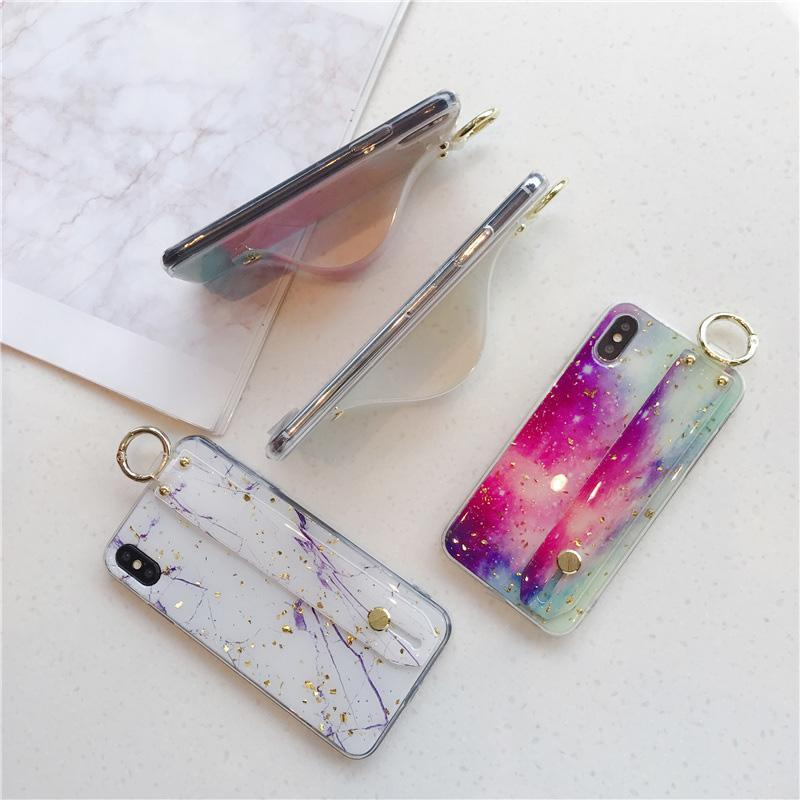 Marble Gold Wrist Strap Case - Jelly Cases