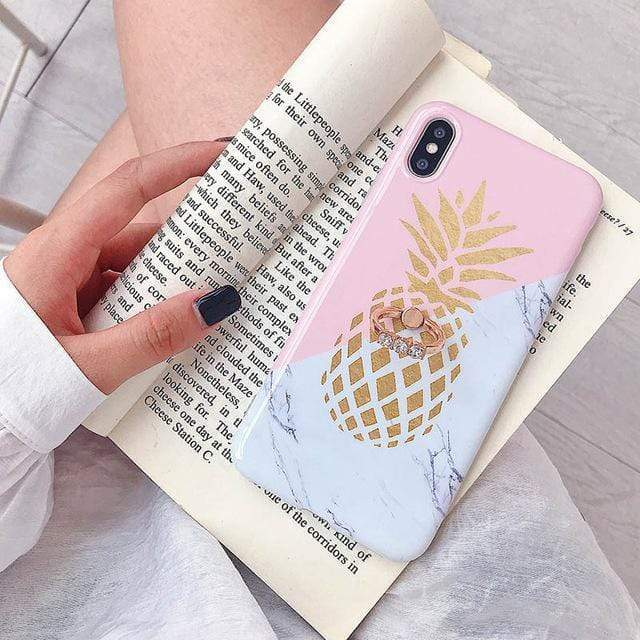 Pineapple Marble With Ring Holder - Jelly Cases