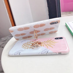 Pineapple Marble Case + Ring Holder - Jelly Cases