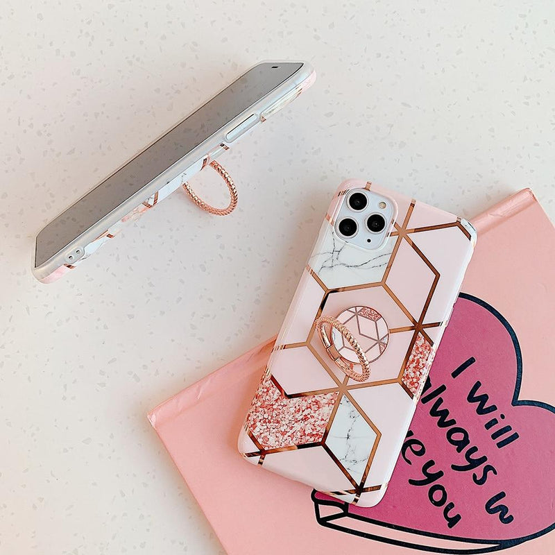 Pink Marble Case + Ring Holder - Jelly Cases
