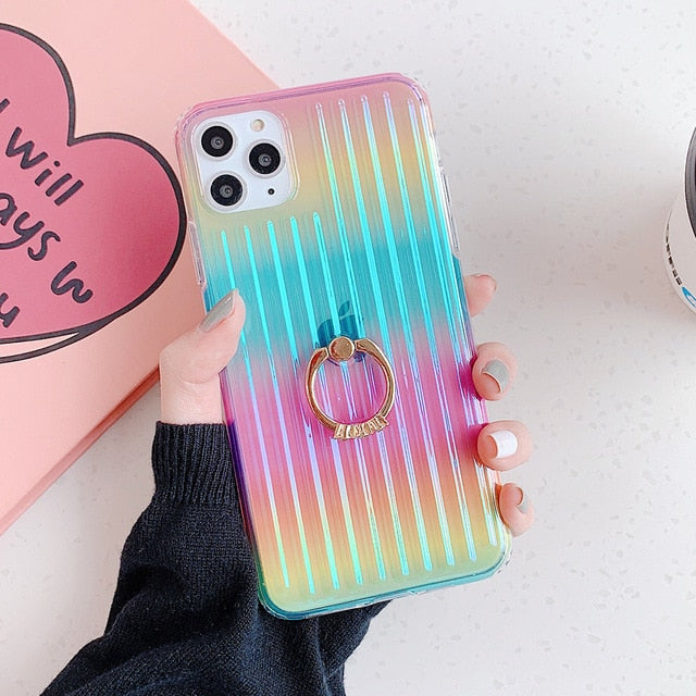 Colorful Clear Stripes Case + Ring Holder - Jelly Cases