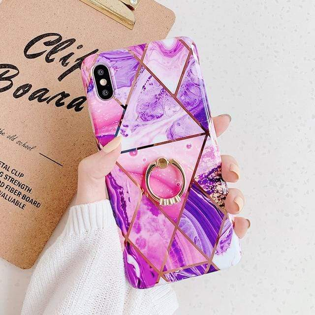 Purple Marble Case with Ring Holder - Jelly Cases