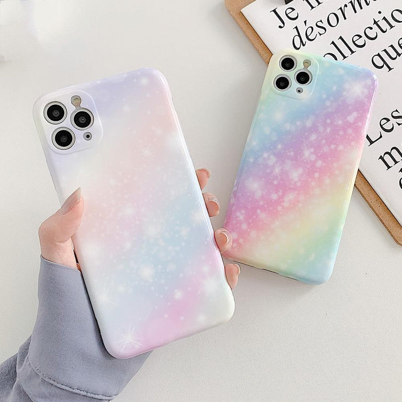 Rainbow Marble Glitter Case - Jelly Cases