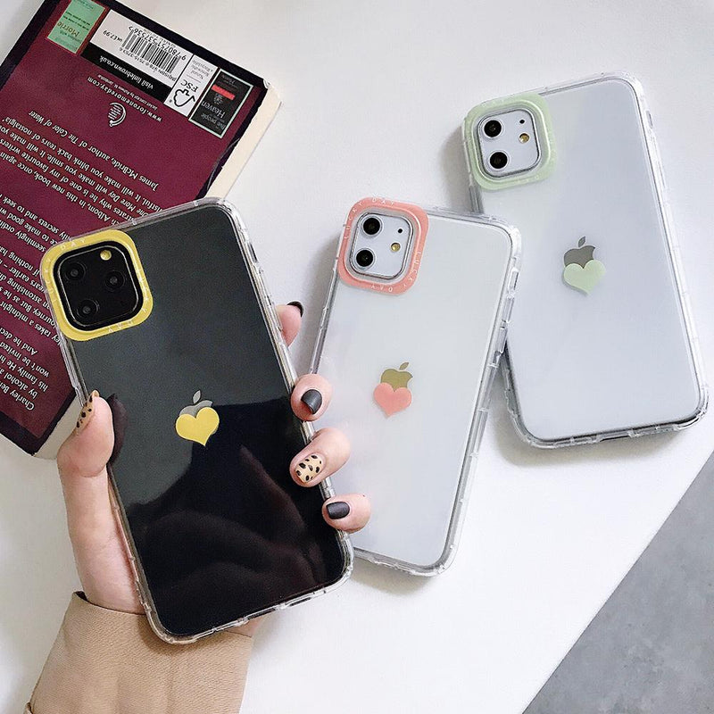 Shockproof Transparent Heart Case - Jelly Cases