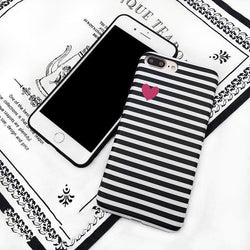 Stripe Pattern Heart Case - Jelly Cases