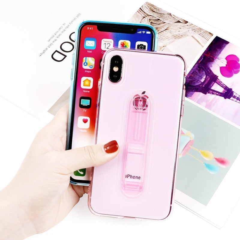 Transparent Candy Color Case With Holder - Jelly Cases
