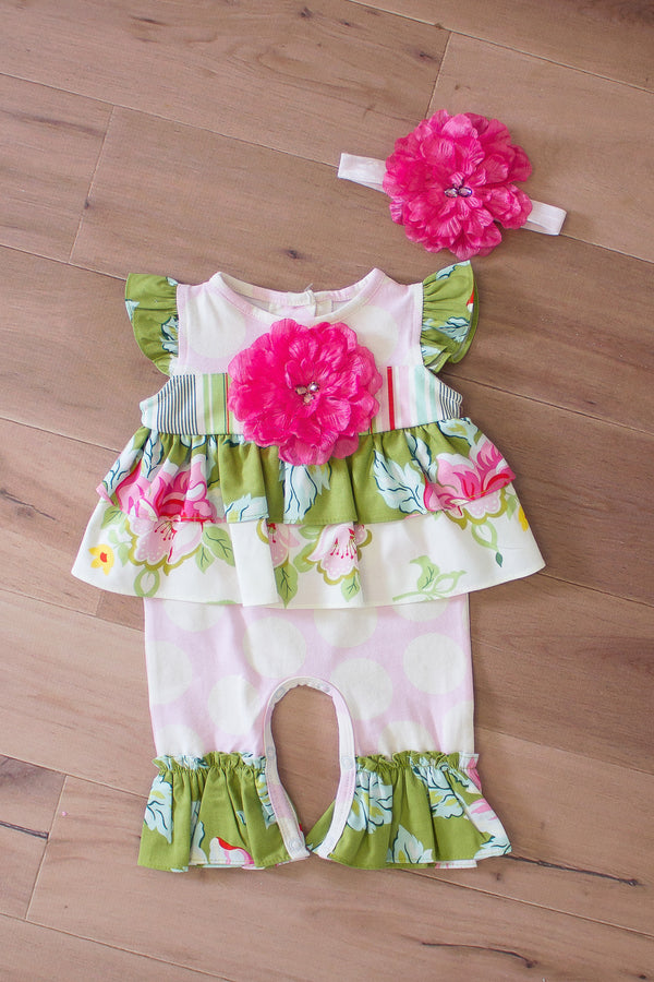 Ruffled Romper w/ Headband