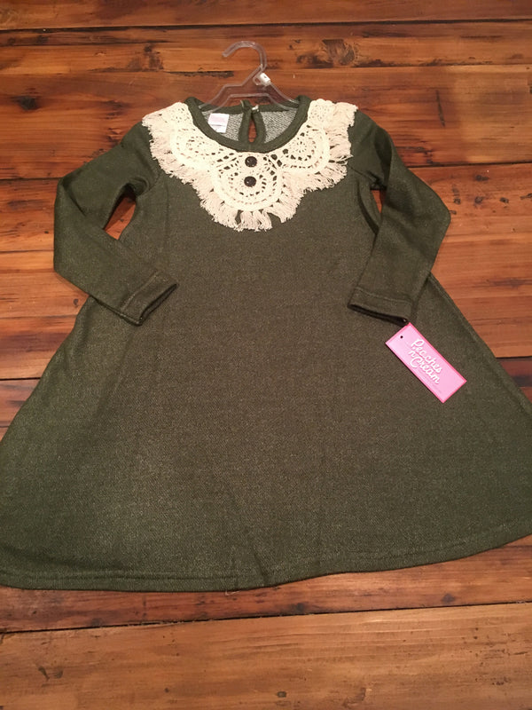 Lace Collar Olive/Ivory Dress