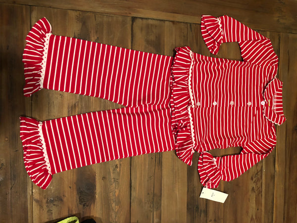 Be Mine Red/White Striped Button Up Set