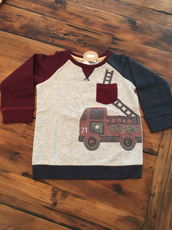 Mud Pie Firetruck Sweatshirt