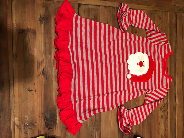 Santa Appliqué Red/Gray Stripes Girls Gown