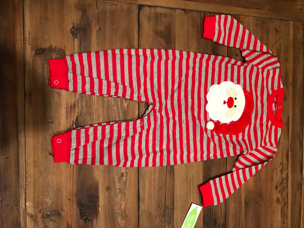Santa Appliqué Red/Gray Striped Romper