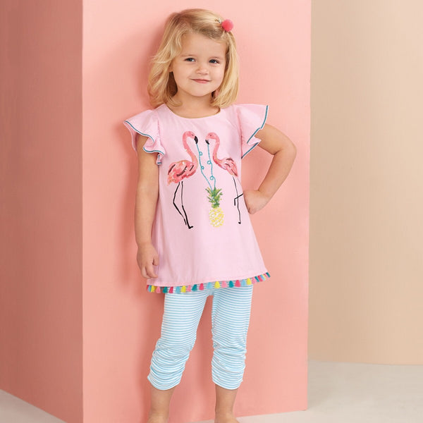 Mud Pie sequin flamingo tunic and Capri set