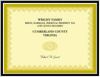 Wright Family Birth, Marriage, Personal Property Tax, And Census Records, Cumberland County, Virginia