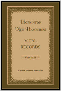 Hopkinton, New Hampshire, Vital Records, Volume 2