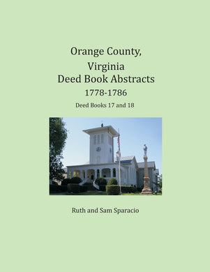 Orange County, Virginia Deed Book, 1778-1786