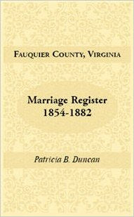 Fauquier County, Virginia, Marriage Register, 1854-1882